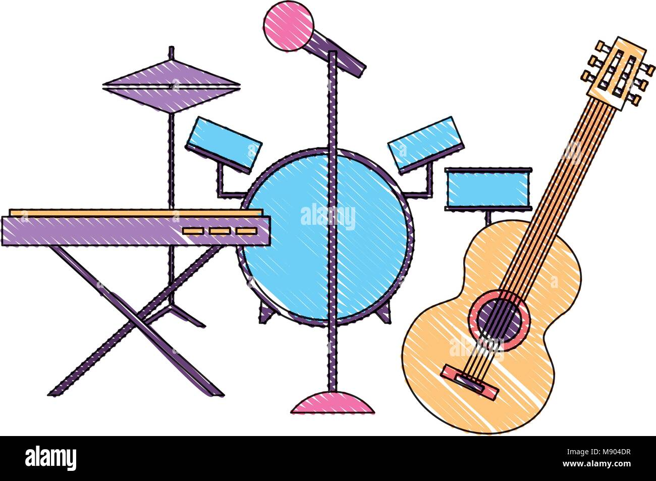Musical Instruments Saxophone Synthesizer Guitar Battery Microphone Vector Illustration Drawing Color