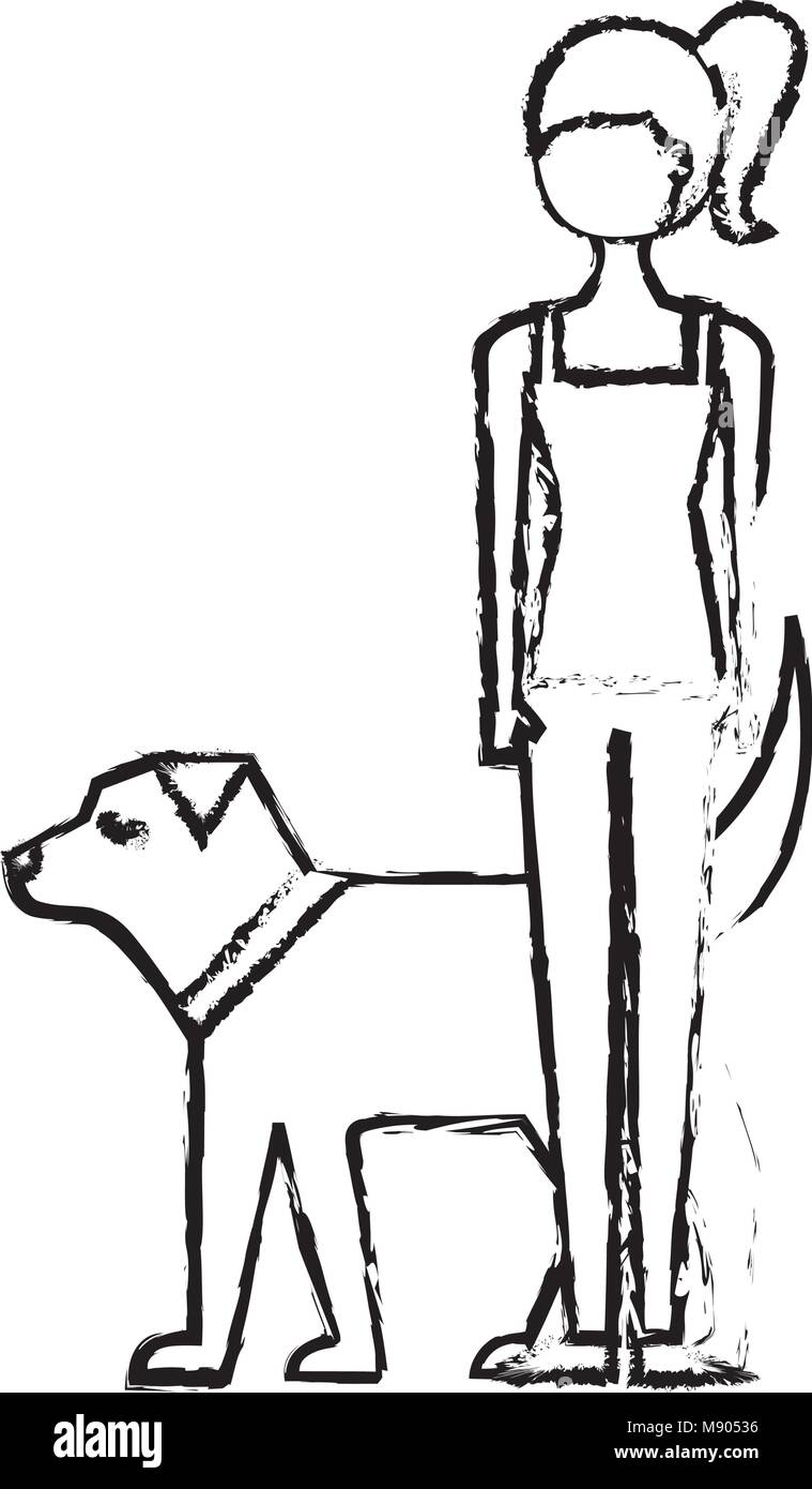 young woman walking with her dog pet Stock Vector Art   Illustration ... bf7e00880e