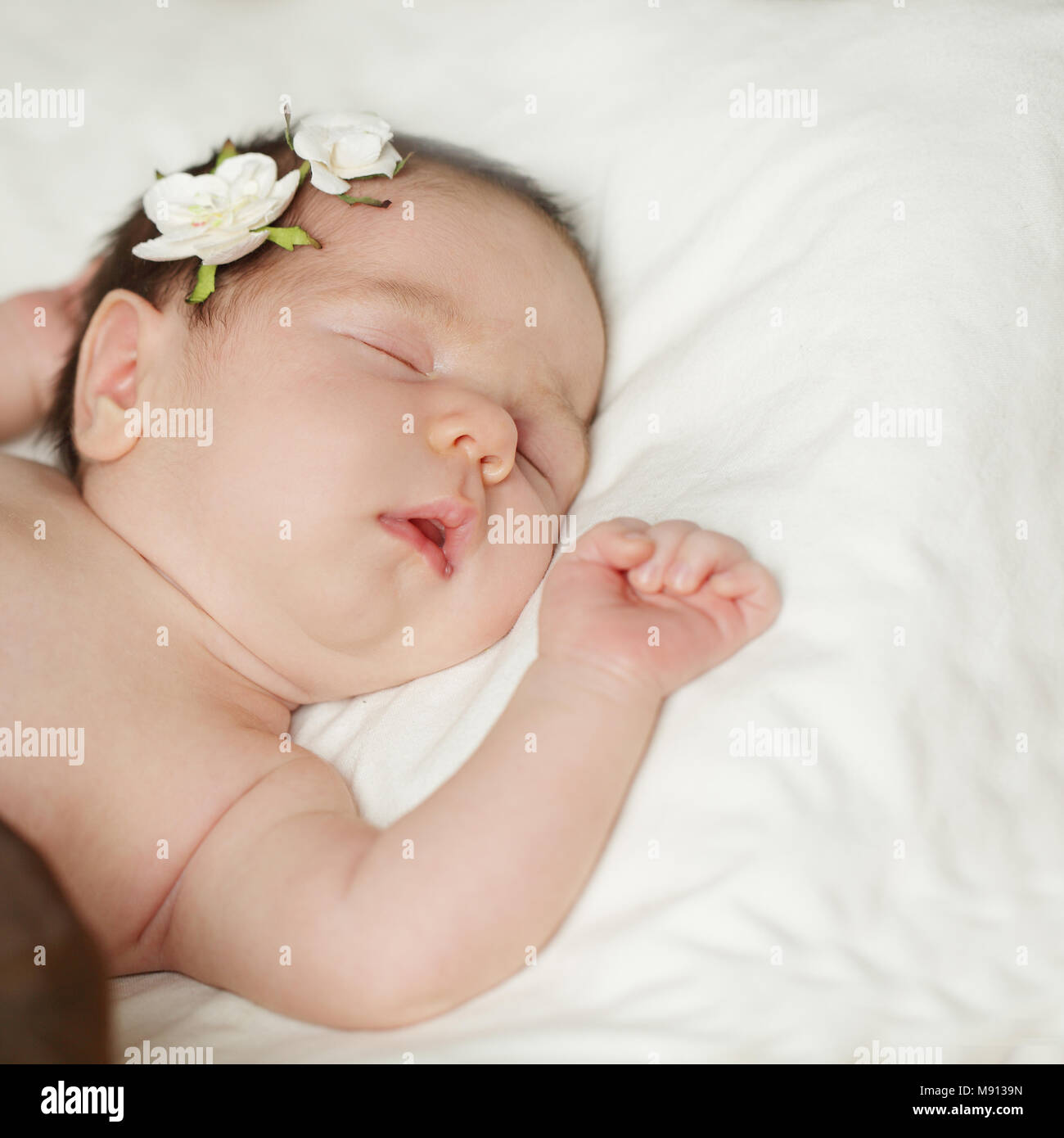 cute sleeping baby on white stock photo: 177660161 - alamy