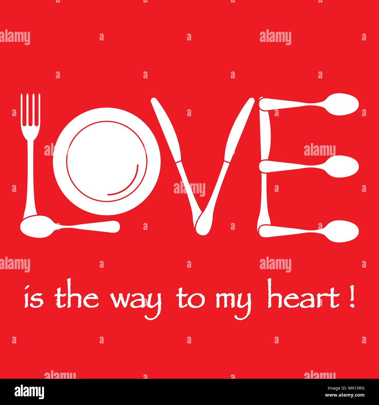 Inscription Love From Cutlery Design For Banner Poster Or Print