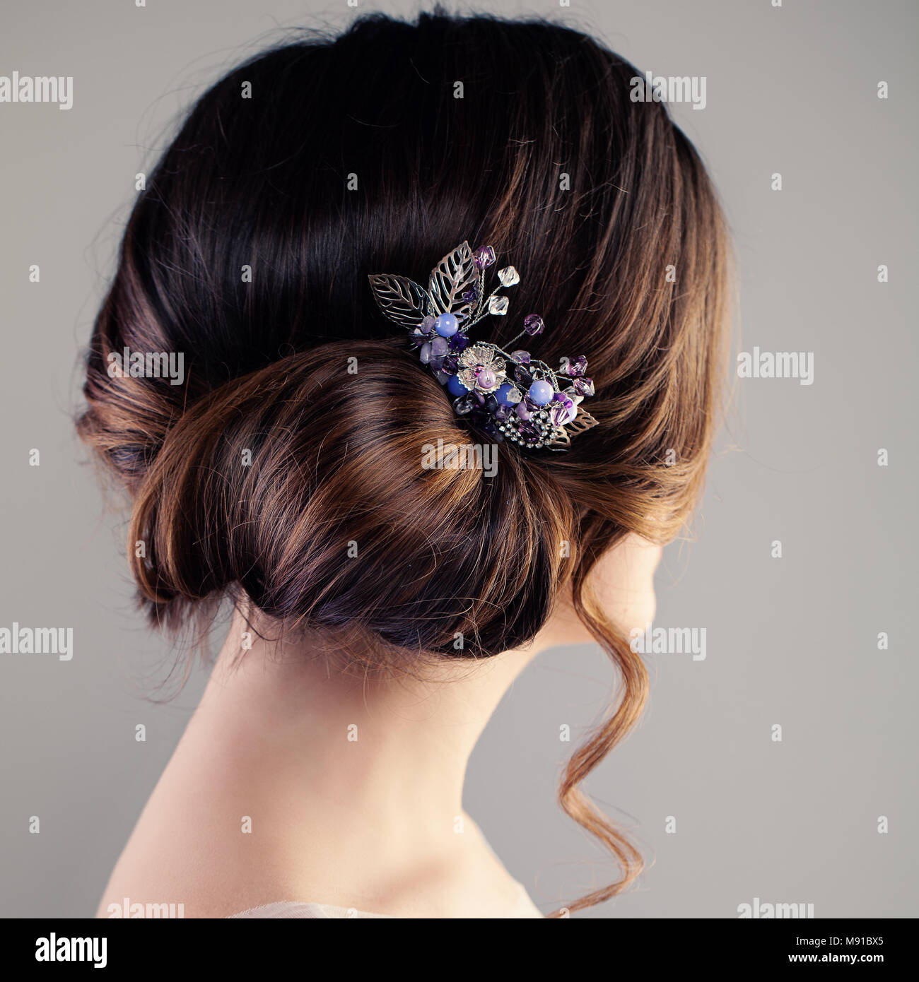 Bridal Or Prom Hairstyle Beautiful Woman With Brown Hair And