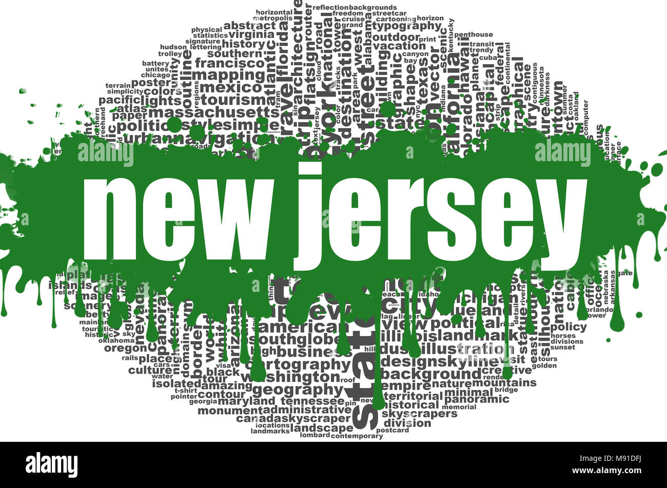 New Jersey Word Cloud Design Creative Illustration Of Idea Word
