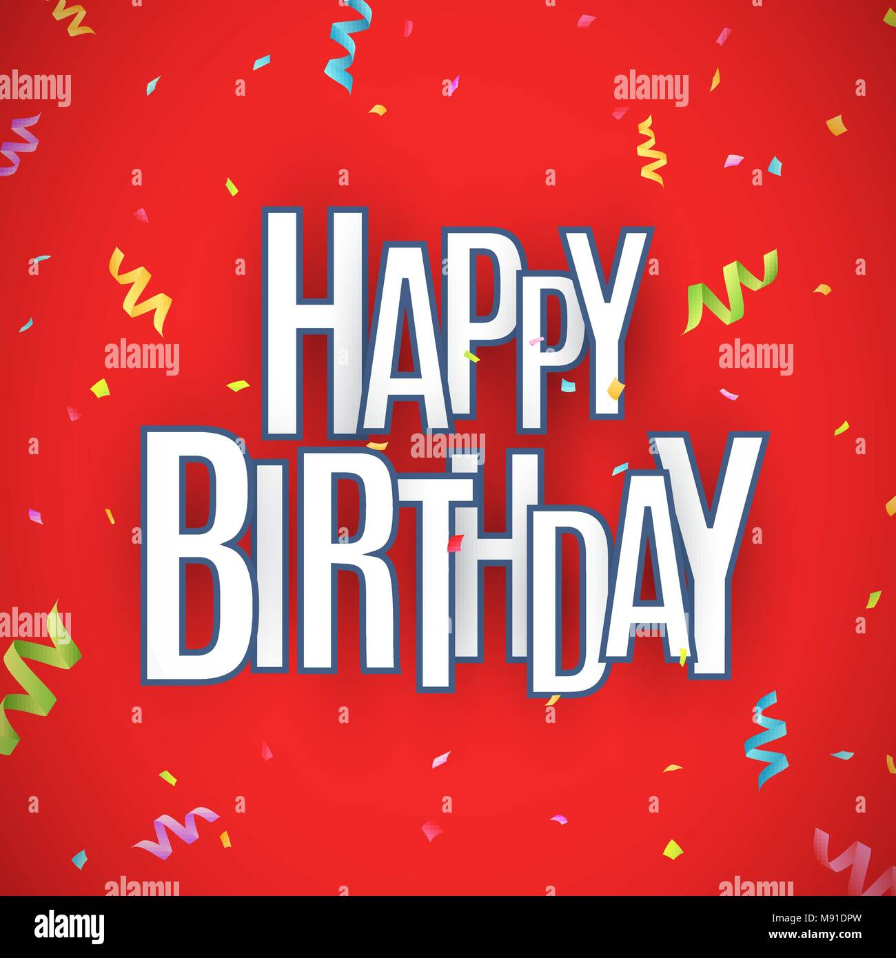 happy birthday inscription white paper chaotic letters with dark stroke on a red background explosion of multicolored confetti festive graphic elem