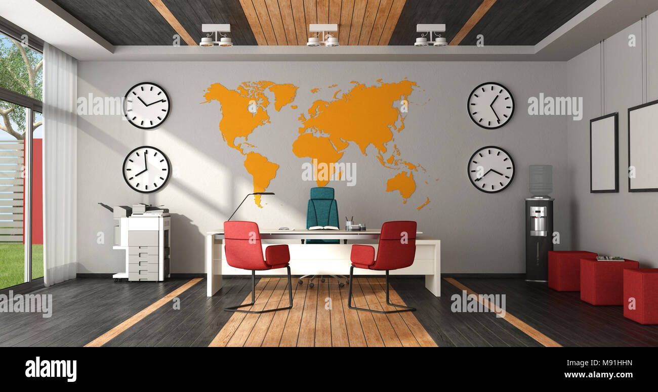 Modern Colorful Office With Desk, Chairs And Office Objects   3d Rendering