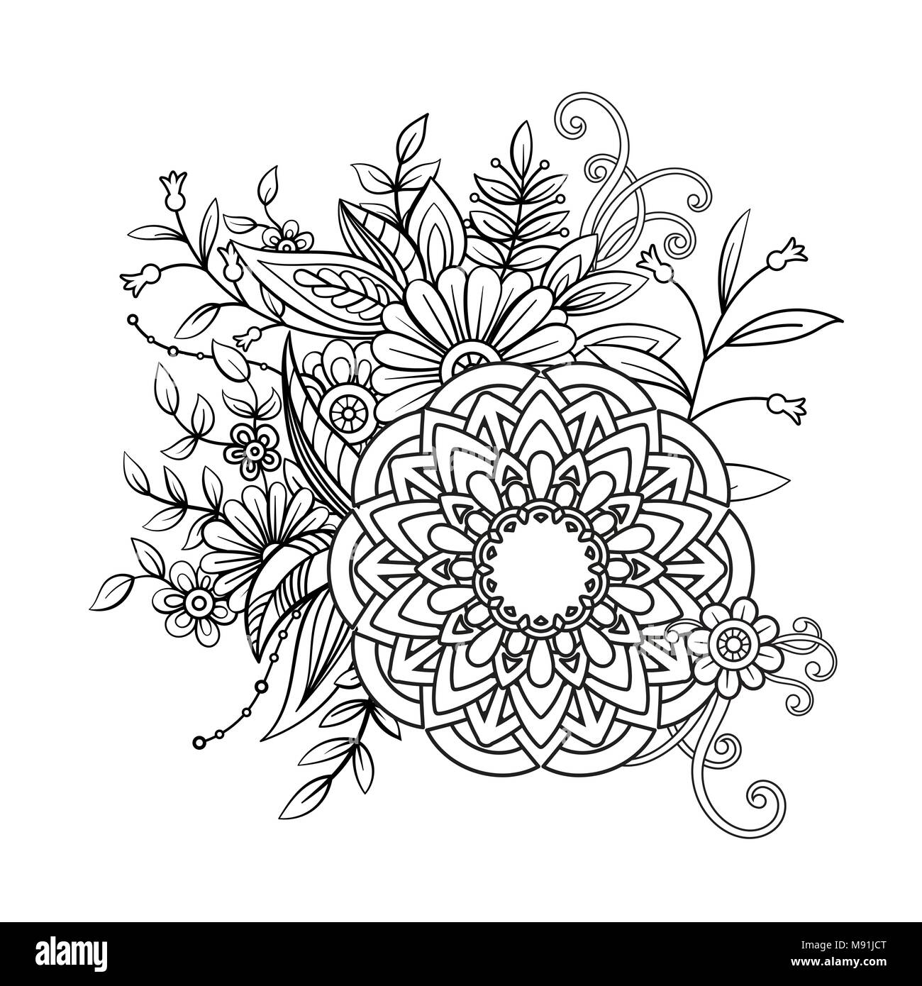 Floral mandala pattern in black and white. Adult coloring book page ...