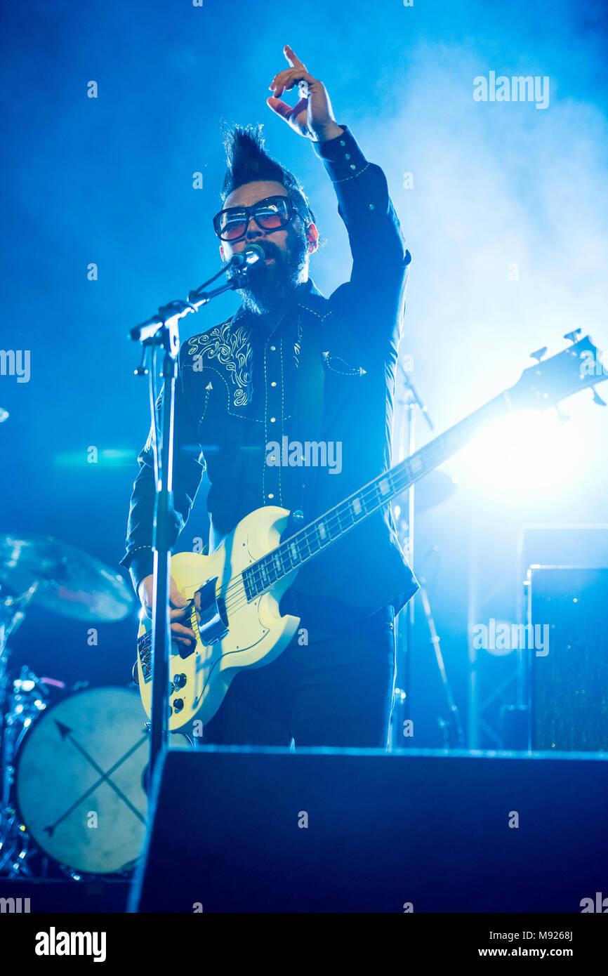 Dublin, Ireland. 21st Mar, 2018. Taka Hirose from welsh rock band ...