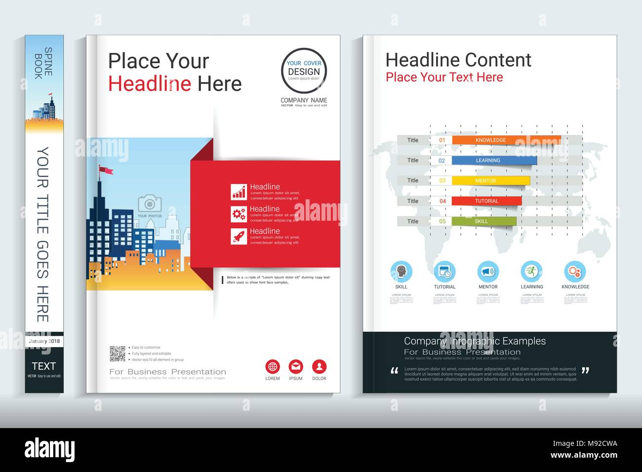corporate cover book design template with infographic element covers designed for any business topic customizing easy to use templates