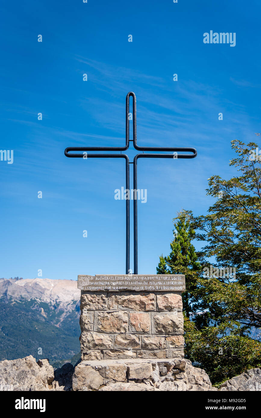 Cross At Top Of Mountain In Bariloche Patagonia Argentina Stock