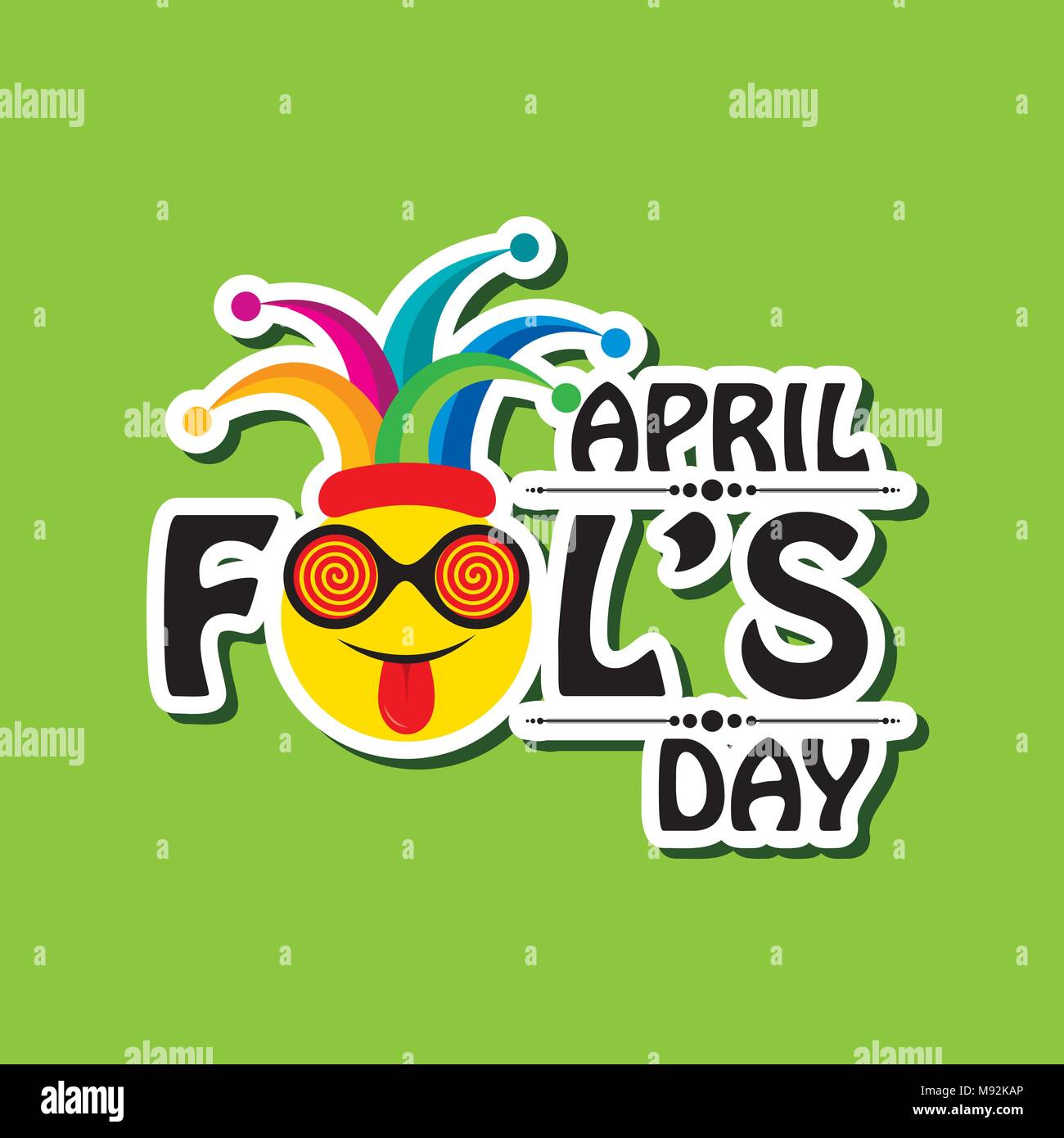 Vector Illustration Of April Fools Day Lettering Text For Greeting