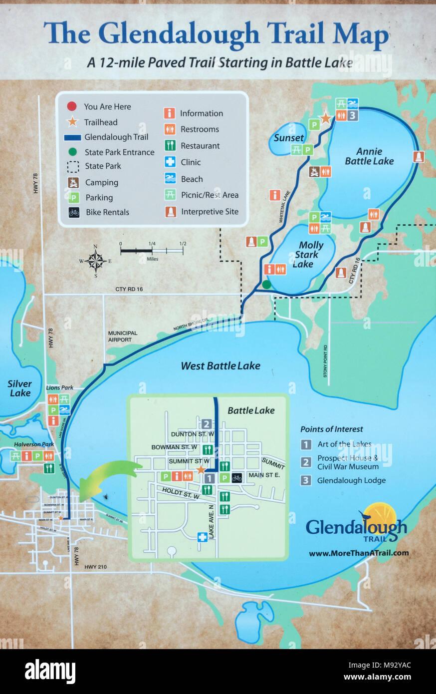 Glendalough State Park Trail Map Battle Lake Minnesota MN USA Stock ...