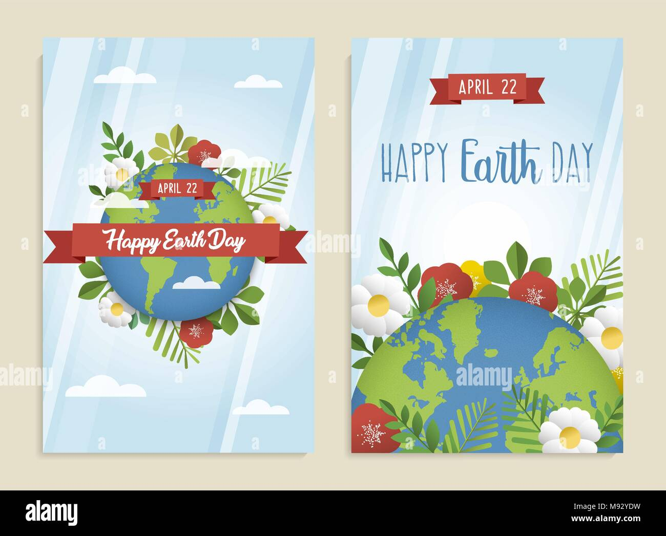 Happy Earth Day Greeting Card Set Of Green Planet With Leaves