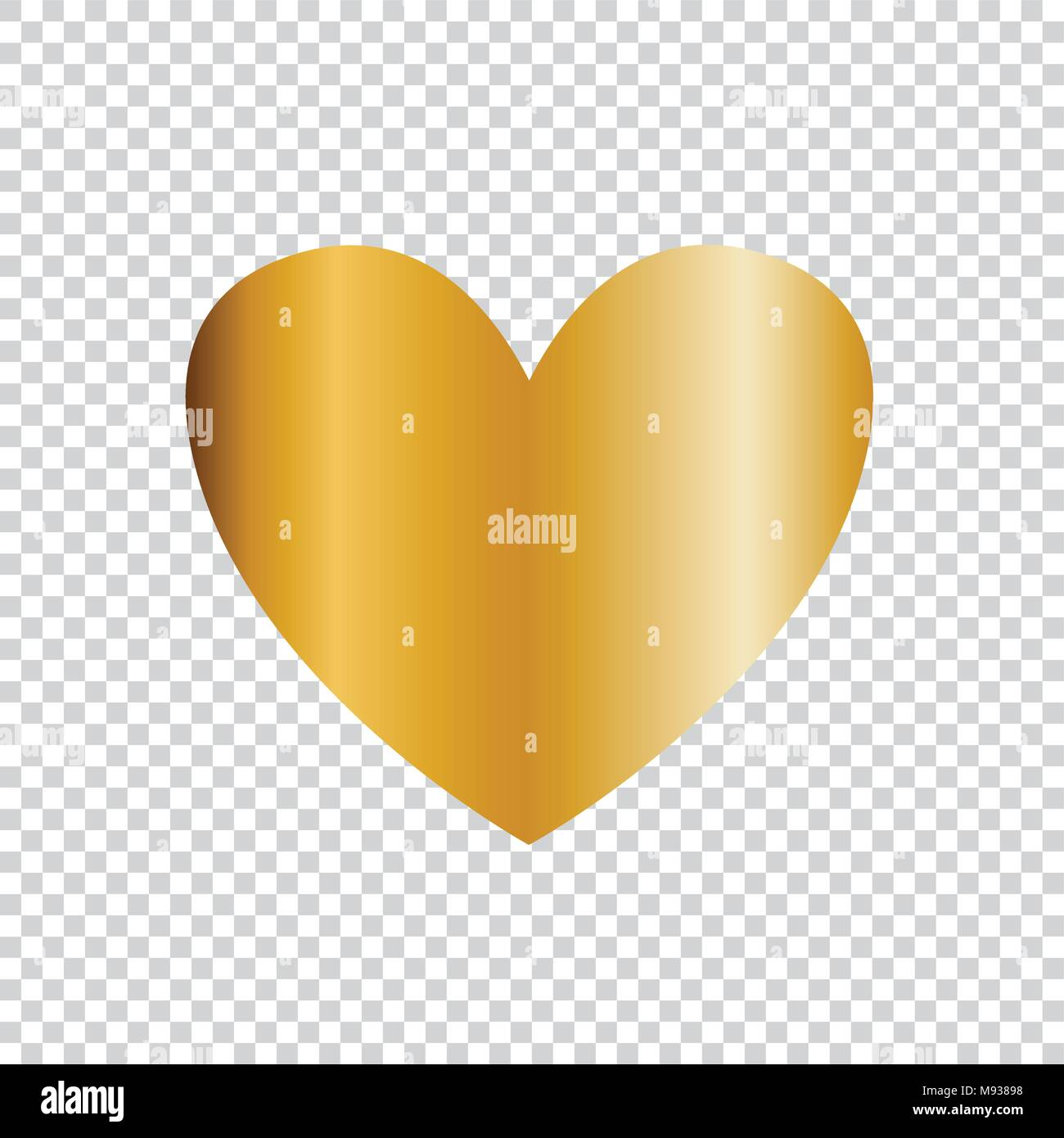 Vector Golden Heart Icon Clip Art Isolated On Transparent