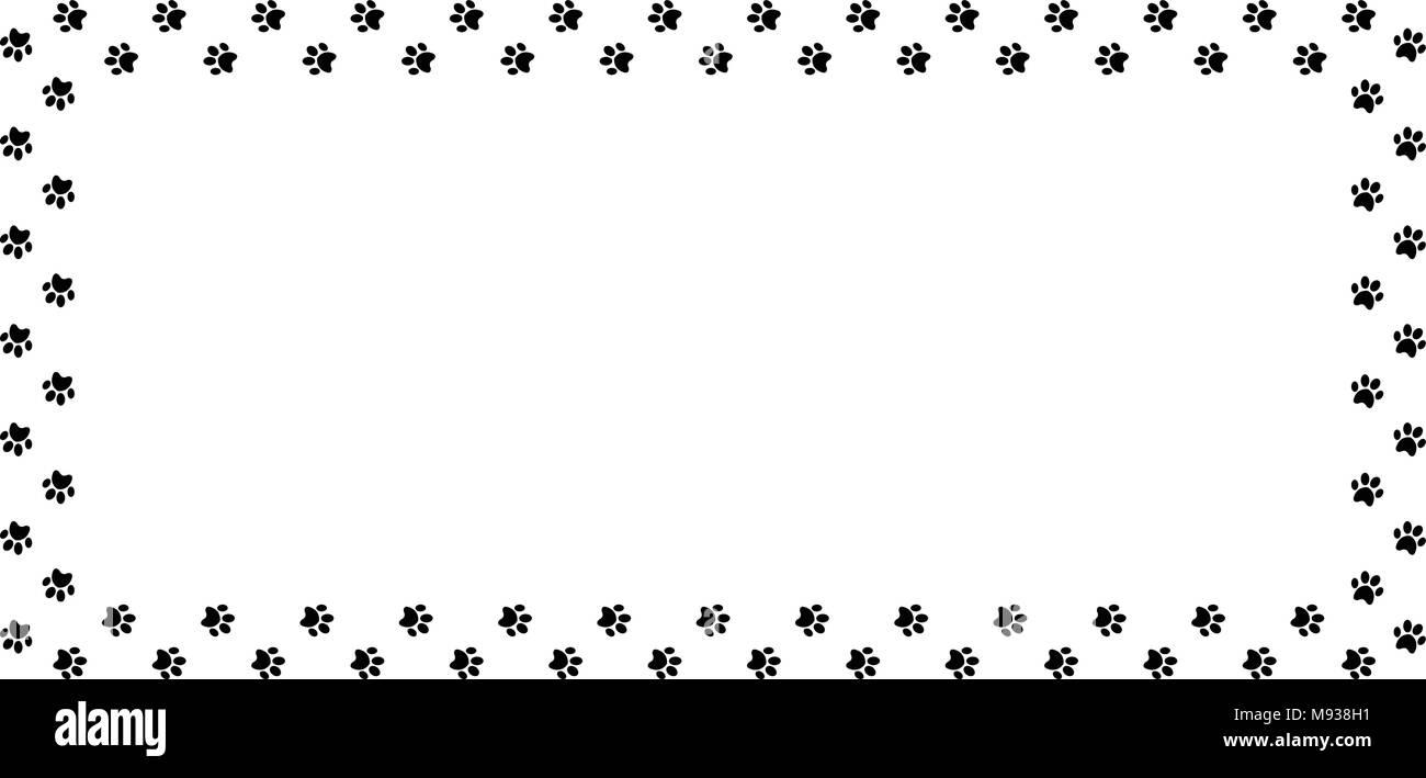 rectangle frame made of black animal paw prints on white background vector illustration template border framework photo frame poster banner ca