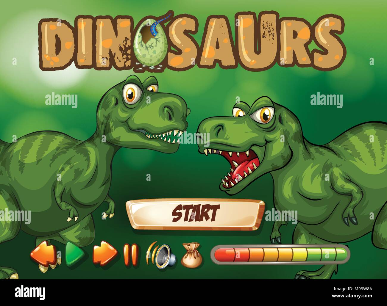 game template with t rex in background illustration stock vector art