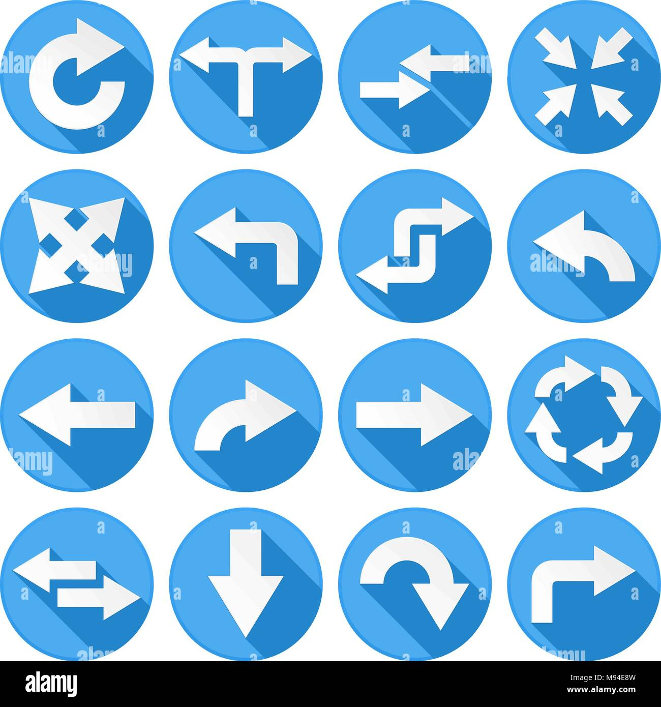 Arrows Set Collection Of Round Blue Icons With Arrow Symbols Stock