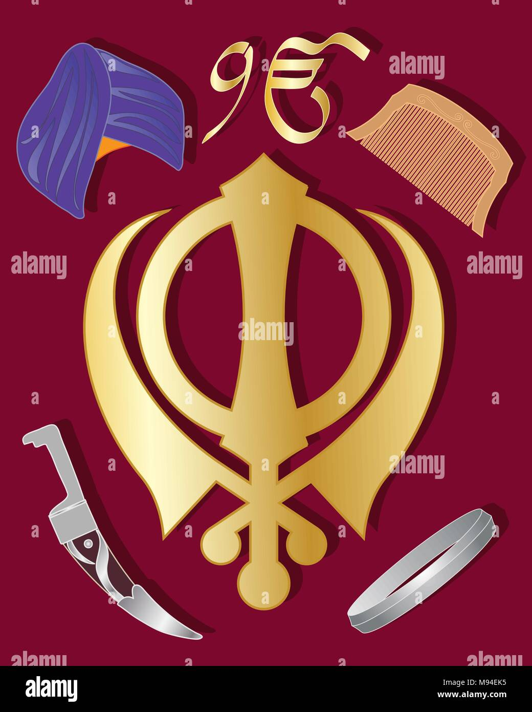 An Illustration Of The Holy Symbol Of Sikhism In Gold With Articles