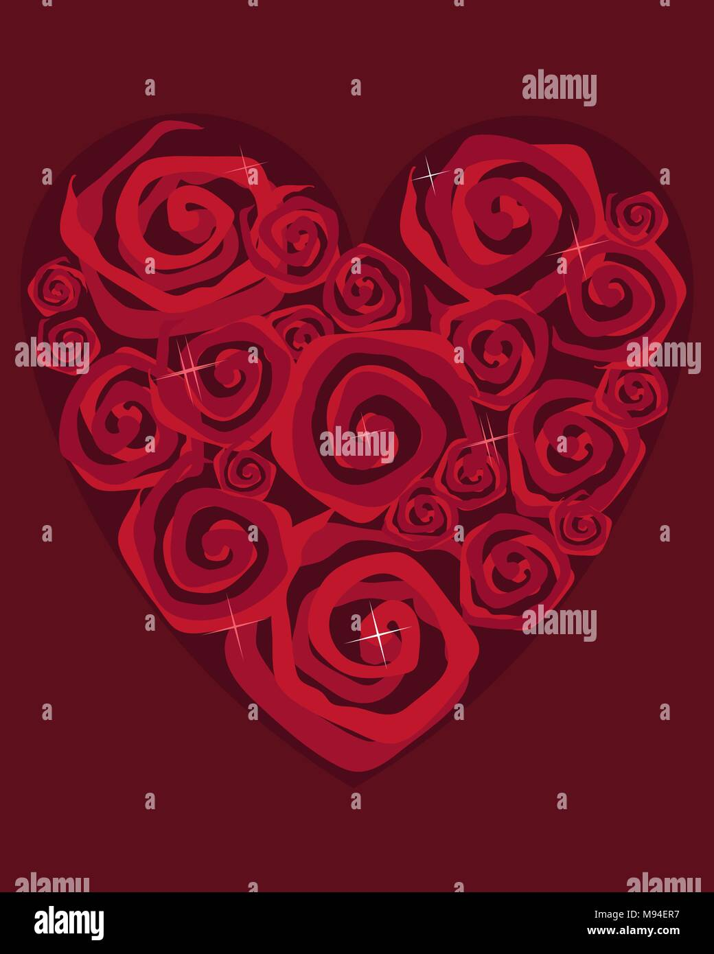 An Illustration Of A Valentine Greeting Card Design With Stylized