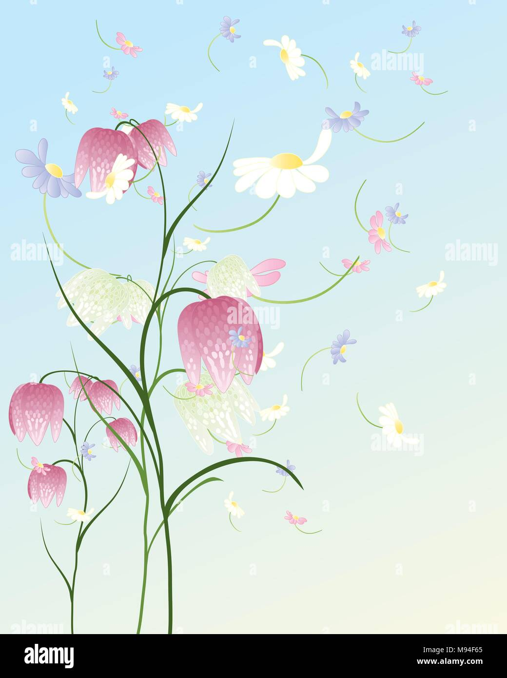 An Illustration Of A Pastel Color Spring Flower Background With