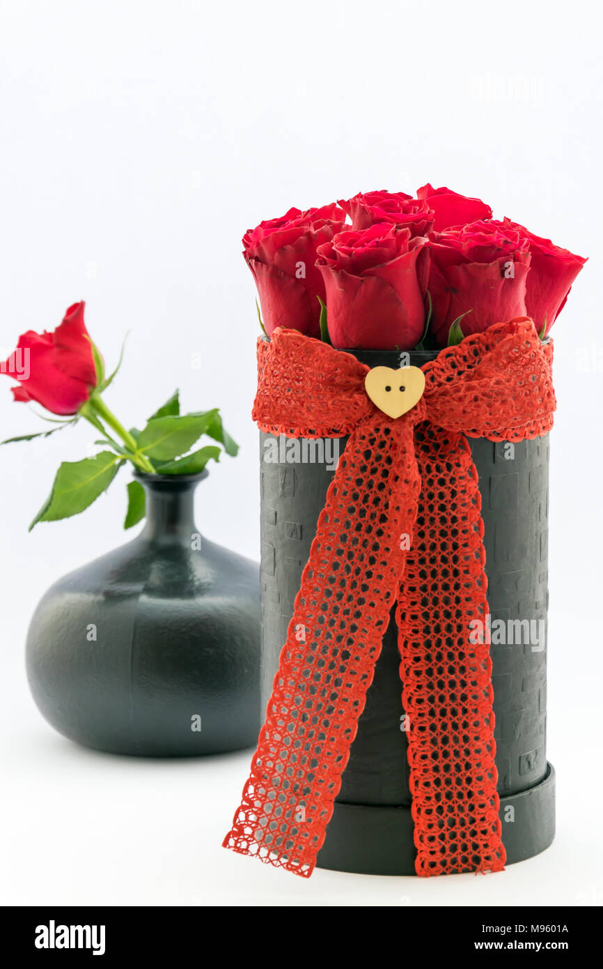 A bouquet of red roses for an anniversary gift, Valentine`s Day ...