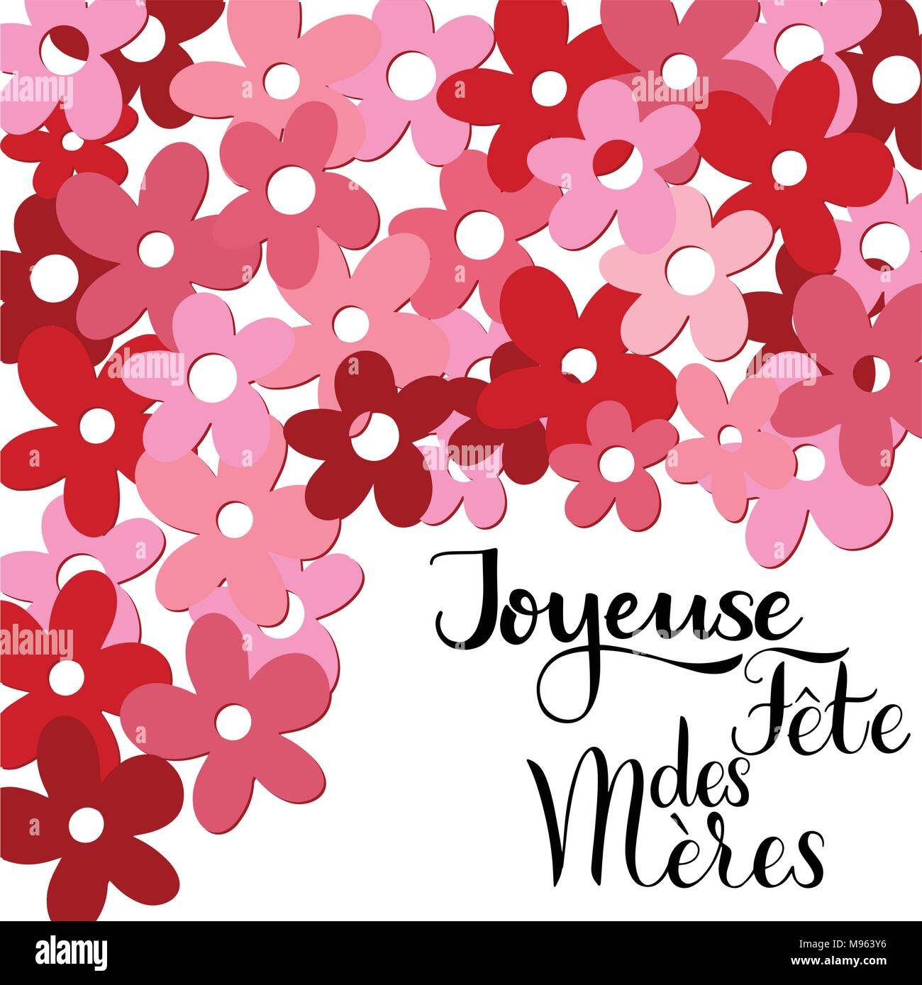 Happy Mother Day Lettering On French Greeting Card Design Hand