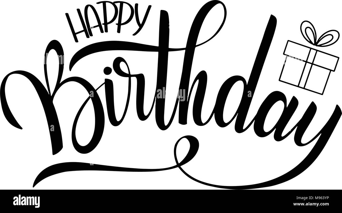Happy Birthday Lettering Holiday Text And Decorations Greeting Card Poster
