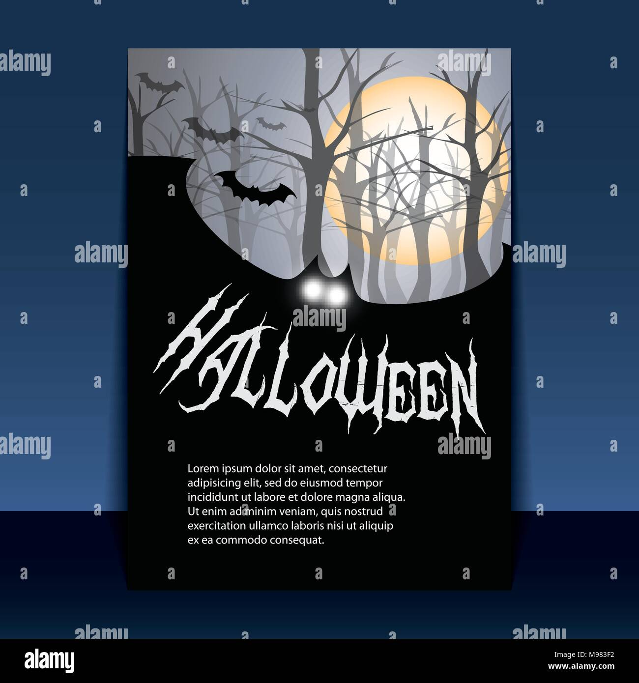 dark halloween flyer or cover design with flying bats in editable
