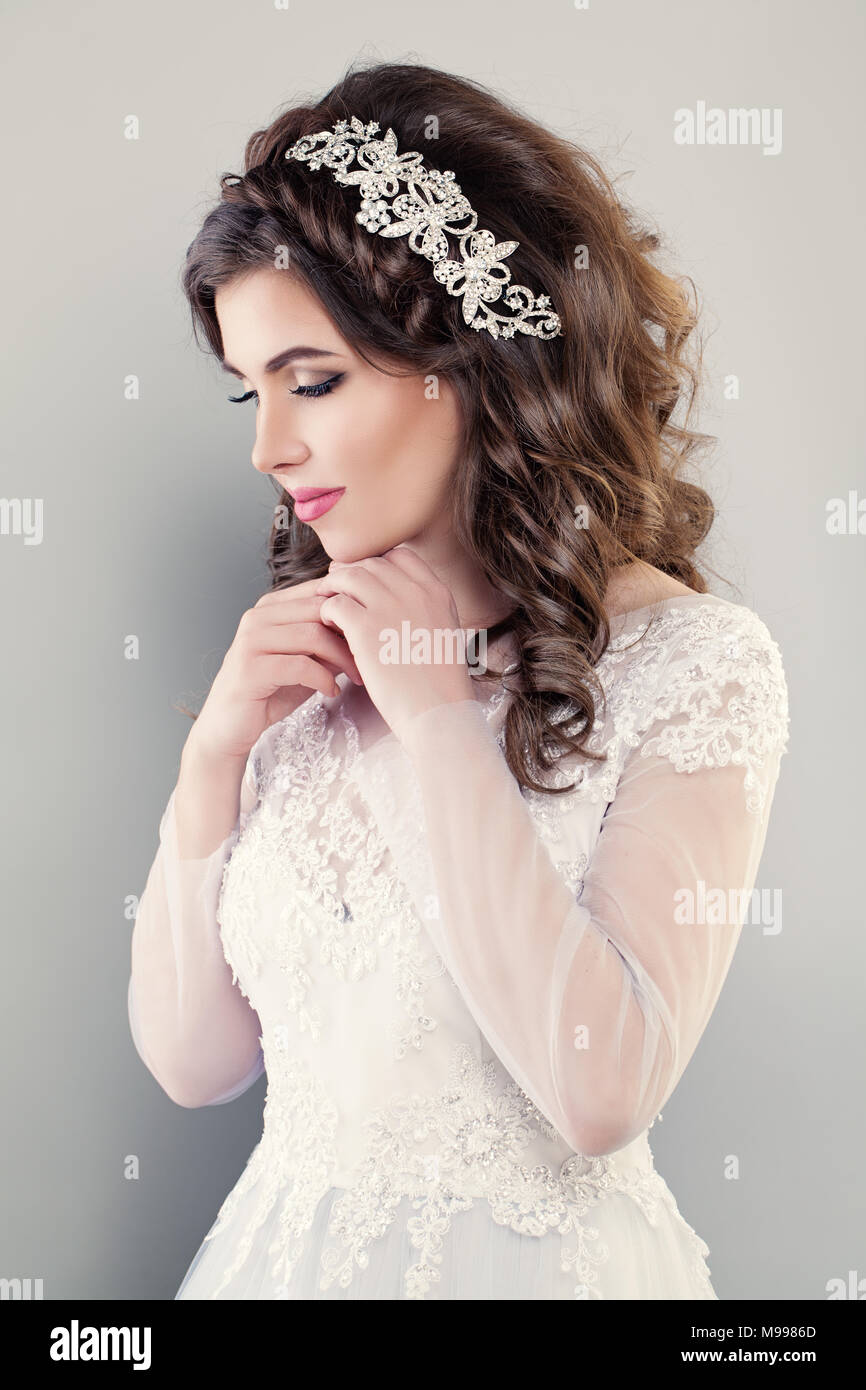 Fashion Portrait of Pretty Woman Fiancee wearing White Evening Gown ...
