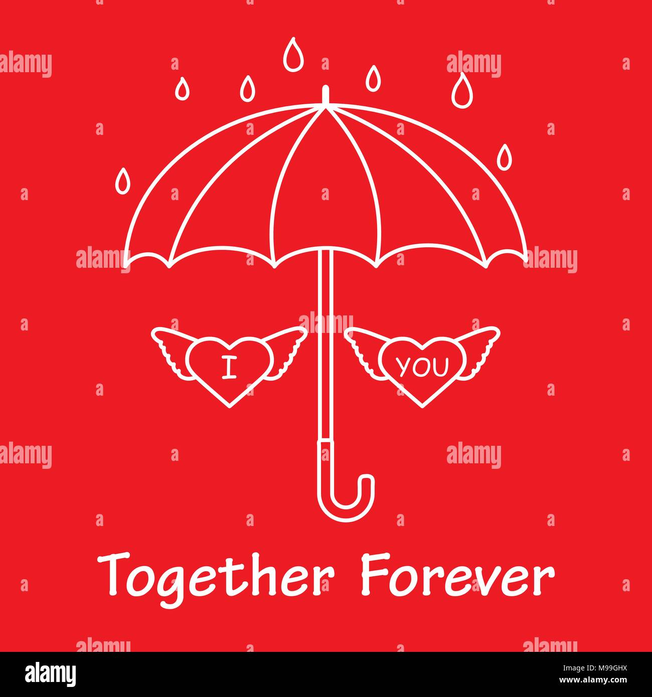 Two hearts with wings under an umbrella in the rain design for two hearts with wings under an umbrella in the rain design for banner poster or print greeting card valentines day m4hsunfo