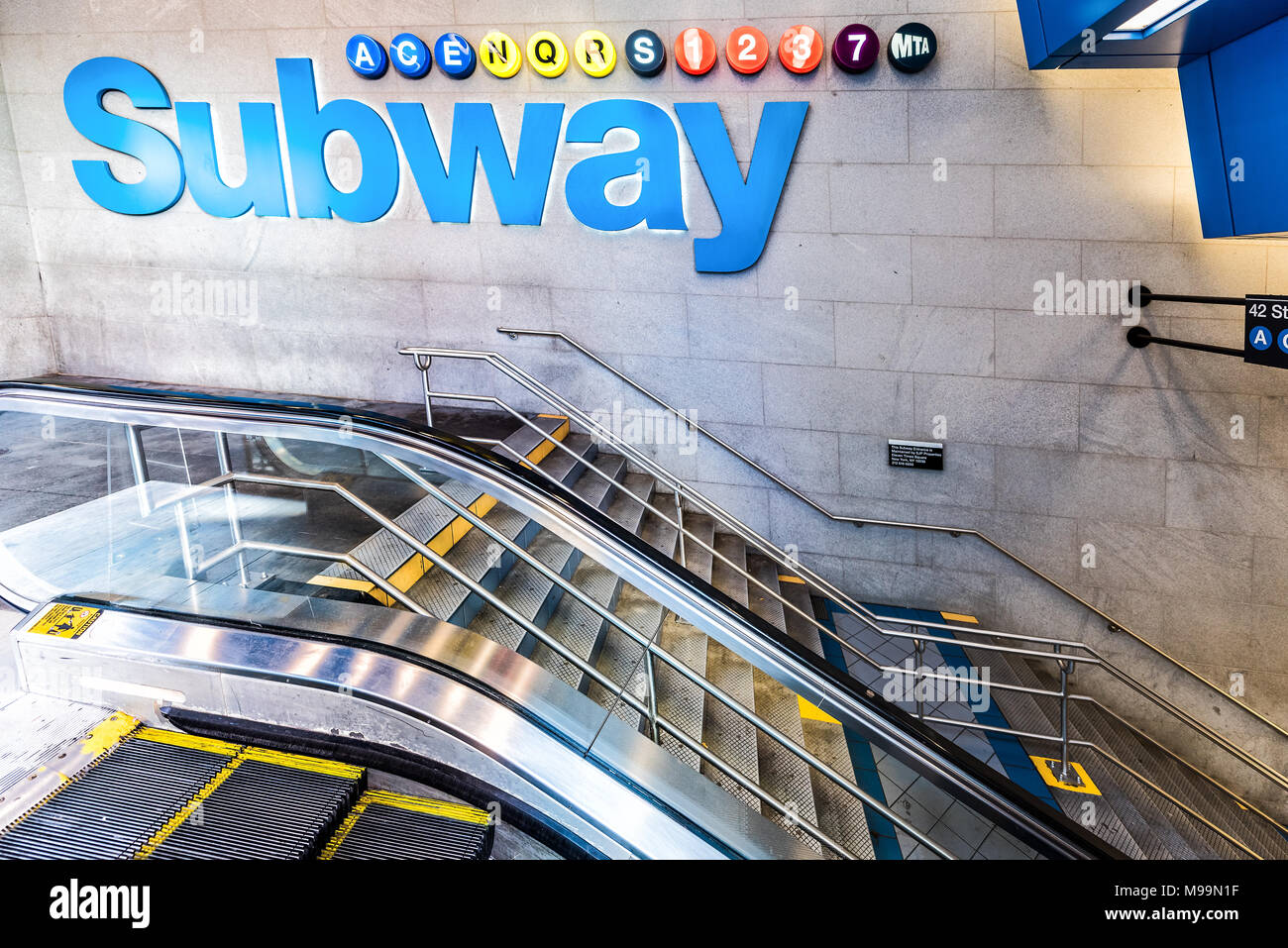 Nyc subway stock photos nyc subway stock images alamy new york city usa october 28 2017 underground transit by sign in biocorpaavc Gallery