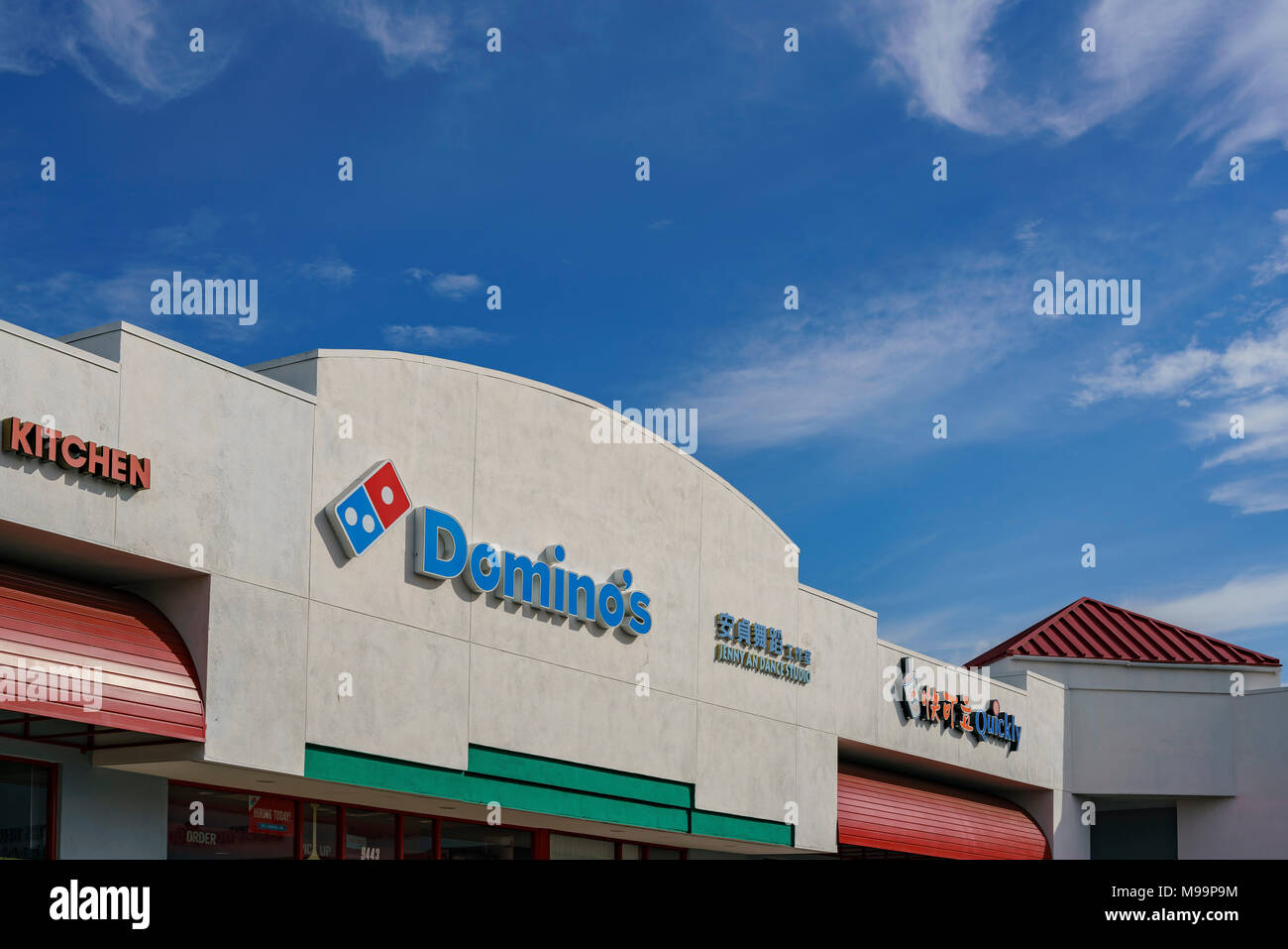 Los Angeles, MAR 8: Exterior view of the Dominos pizza sign on MAR 8 ...