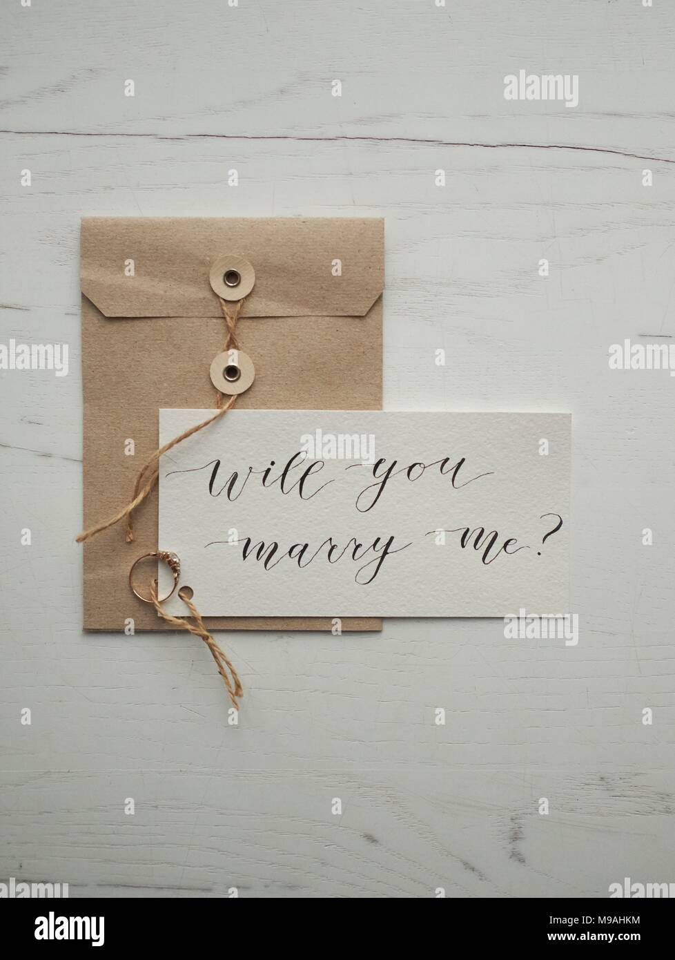 Calligraphy Letter Design Decorative Will You Marry Me Wedding Ring
