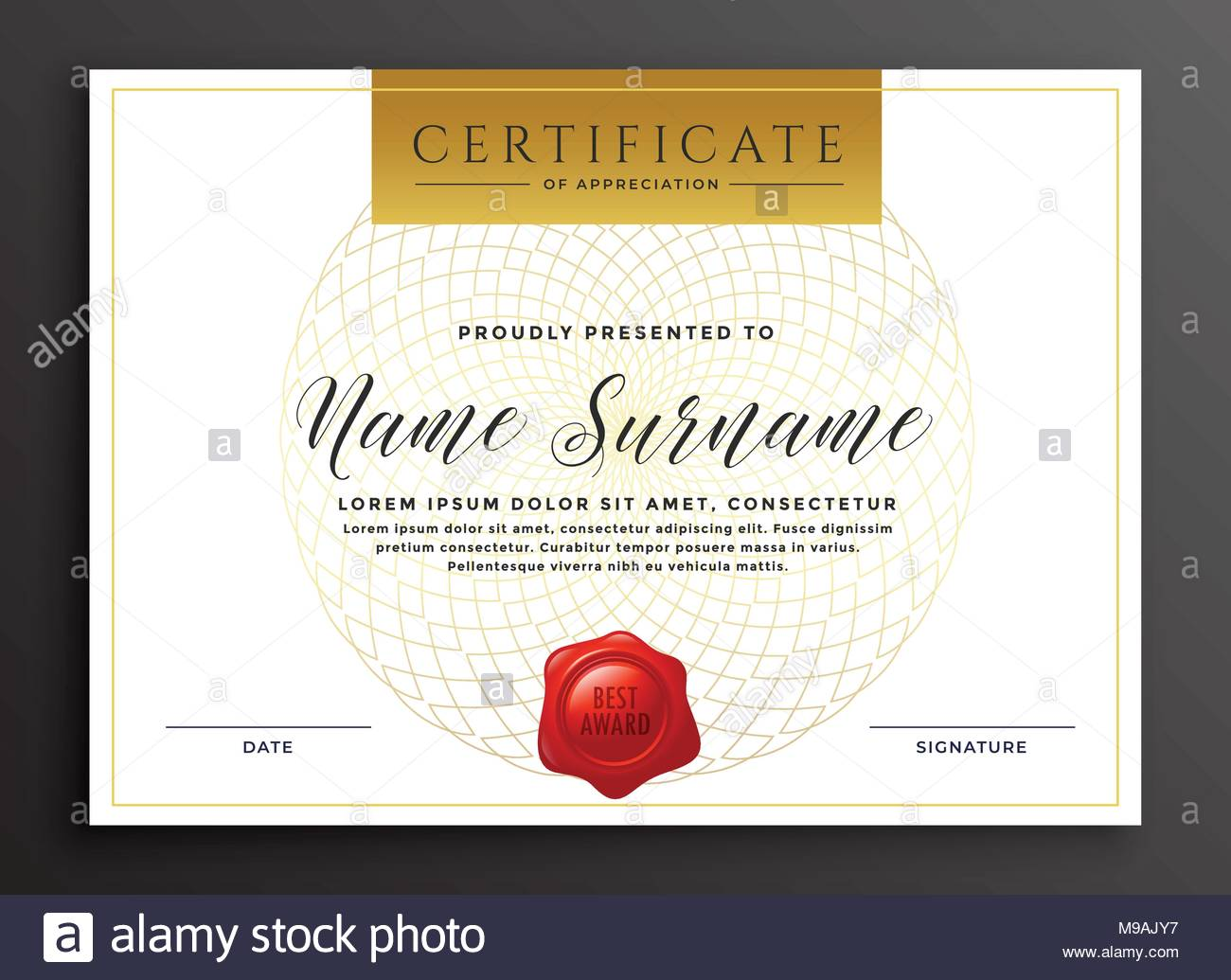 Elegant Luxury Modern Certificate Design Template Stock Vector Art