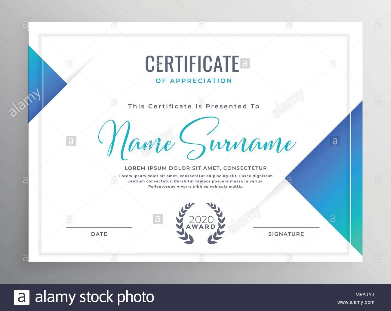 Minimal Blue Triangle Certificate Template Design Stock Vector Art