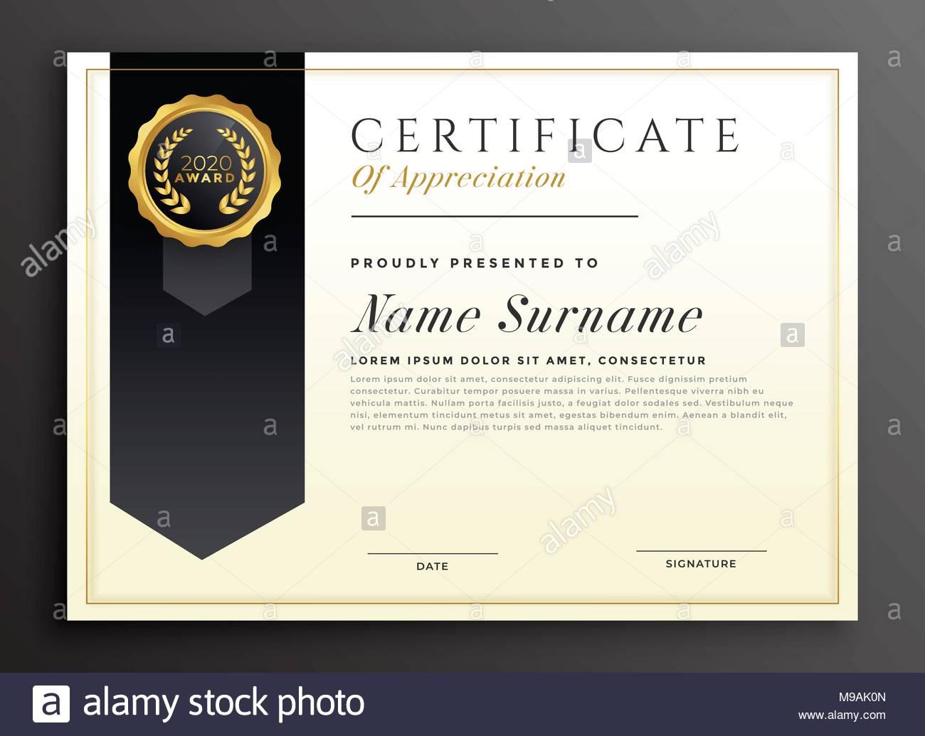 Elegant Diploma Award Certificate Template Design Stock Vector Art