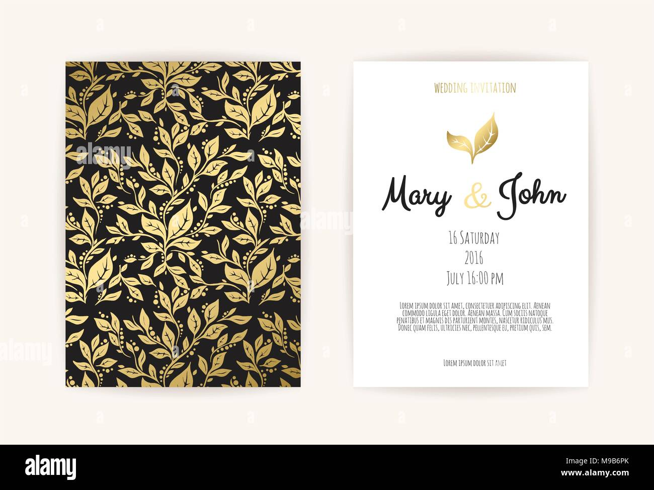 Vintage wedding invitation templates cover design with gold leaves vintage wedding invitation templates cover design with gold leaves ornaments vector traditional decorative backgrounds stopboris Choice Image