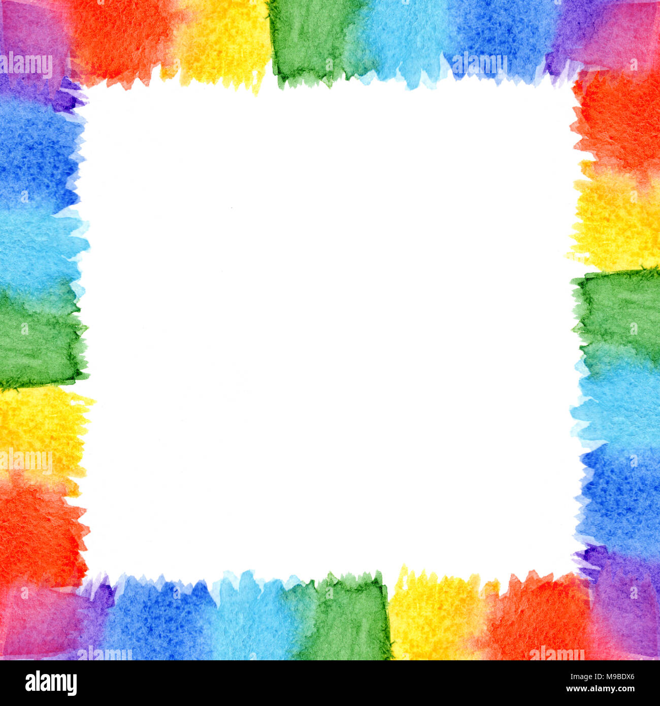 Abstract watercolor frame rainbow seven bright colors background ...