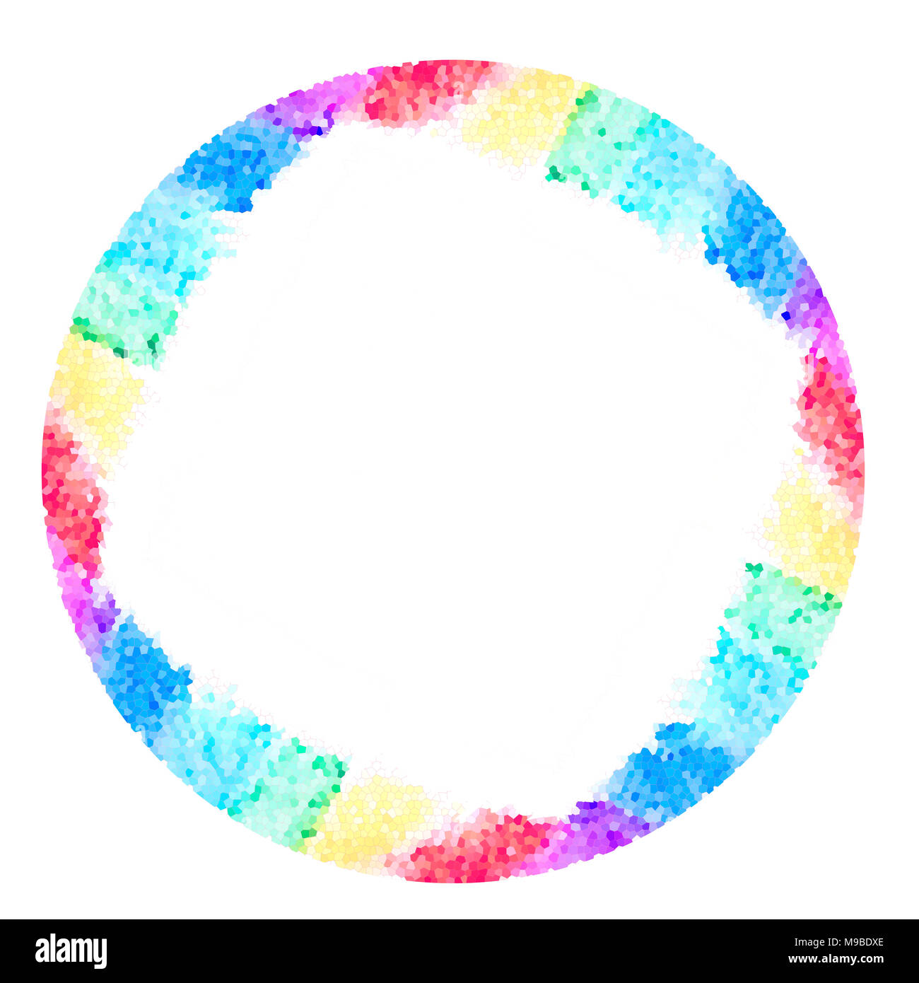 Abstract watercolor round frame rainbow seven colors background ...