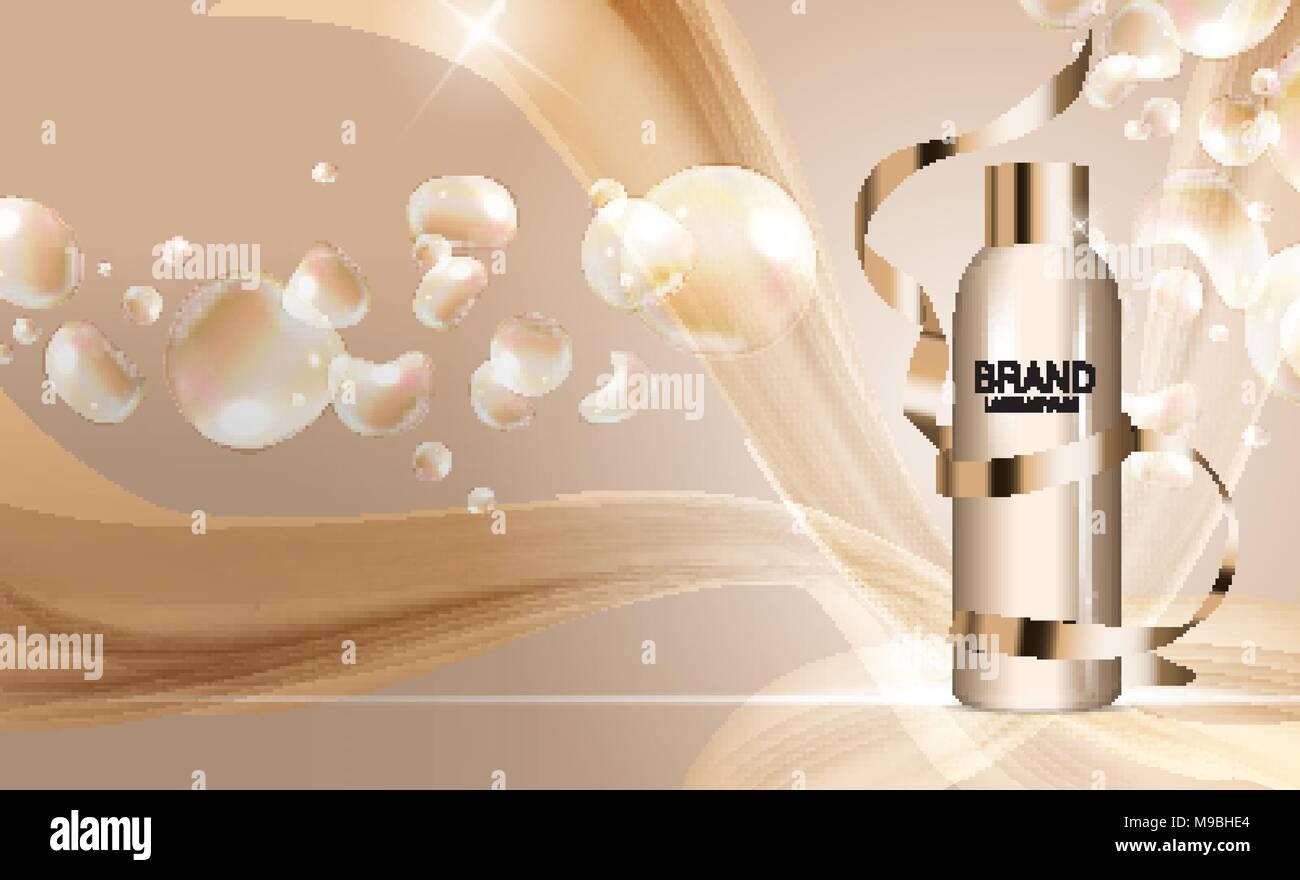 shower gel bottle template for ads or magazine background 3d