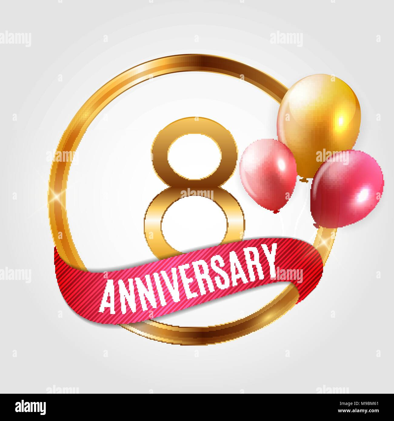 template gold logo 8 years anniversary with ribbon and balloons