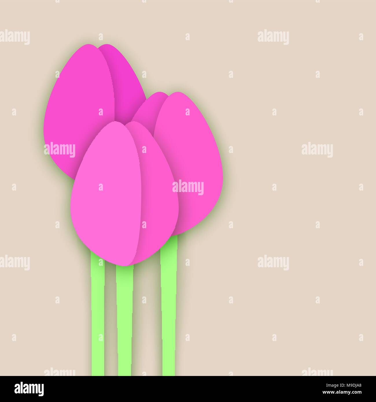 three paper cut tulips on beige background collage with shadows