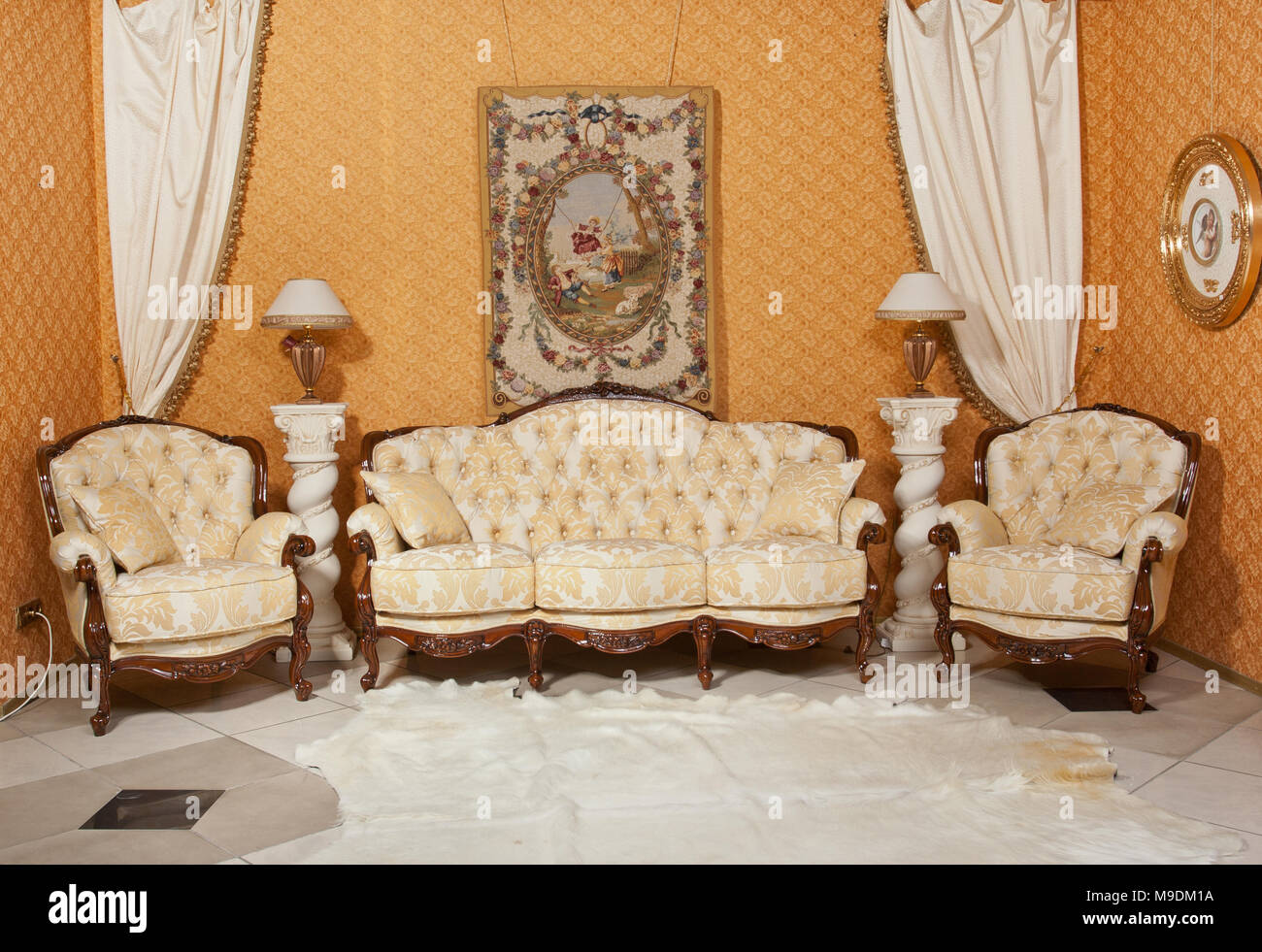 Empty Interior Living Room Background In Warm Colors Decorated With