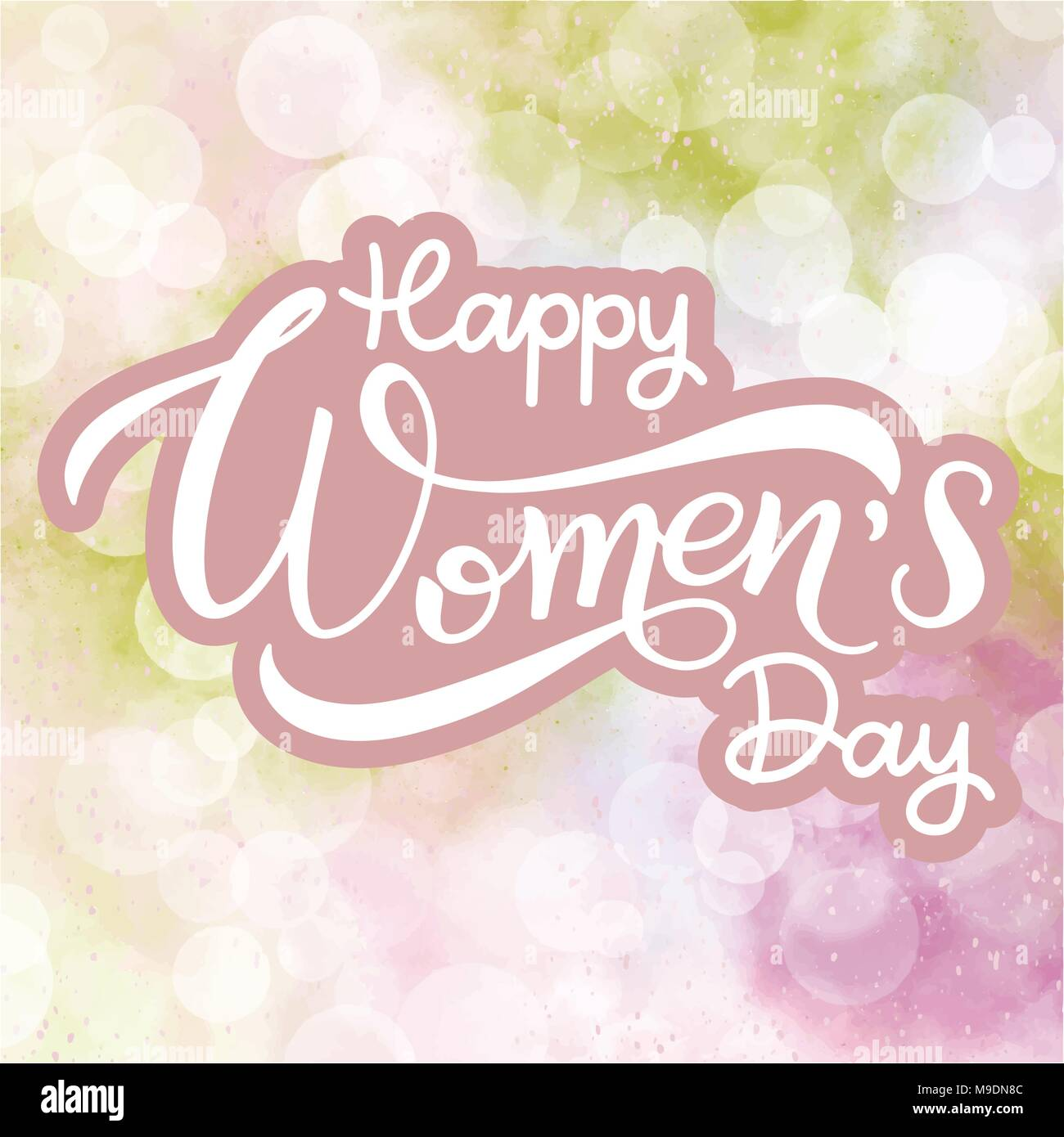 Happy Womens Day Greeting Cards 8 March Lettering Banner For The