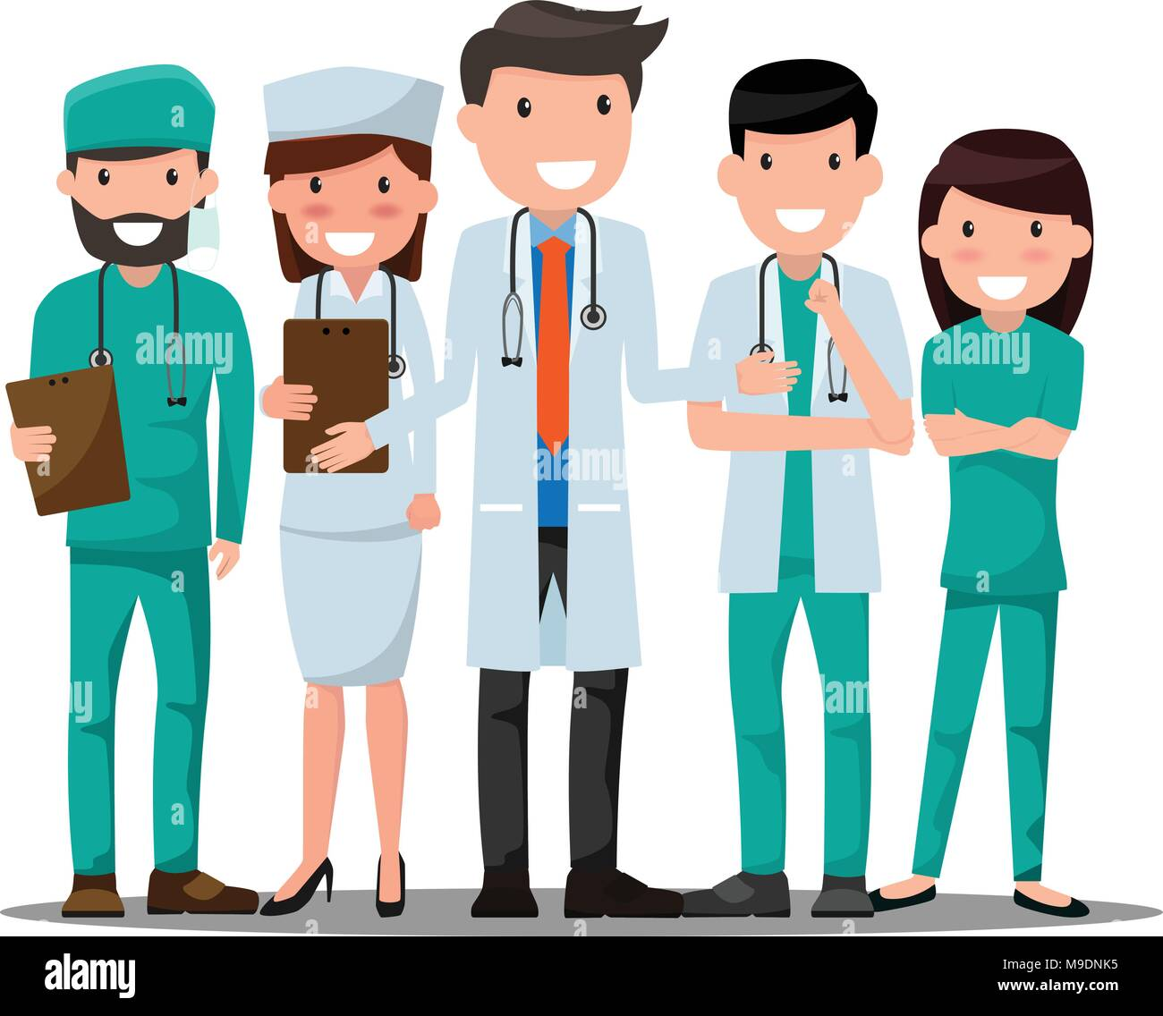 doctor and nurse medical set in various pose for advertising or