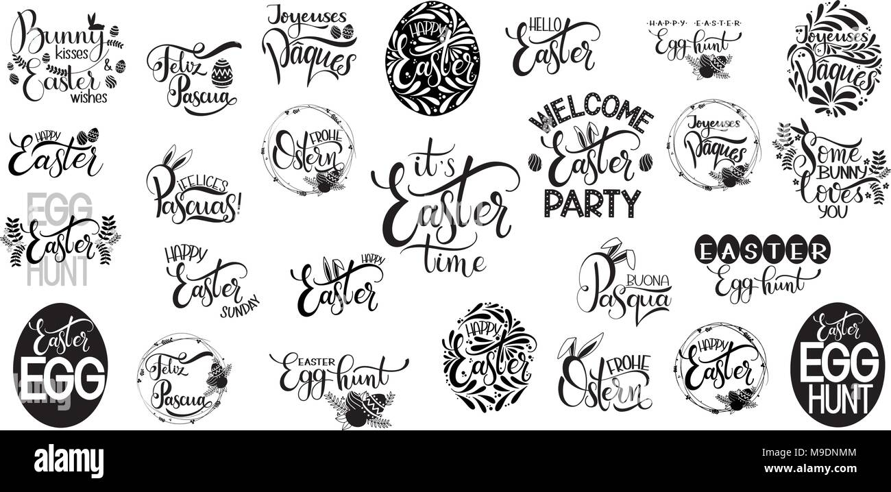 Happy Easter Big Lettering Set Hand Written Easter Phrases Seasons