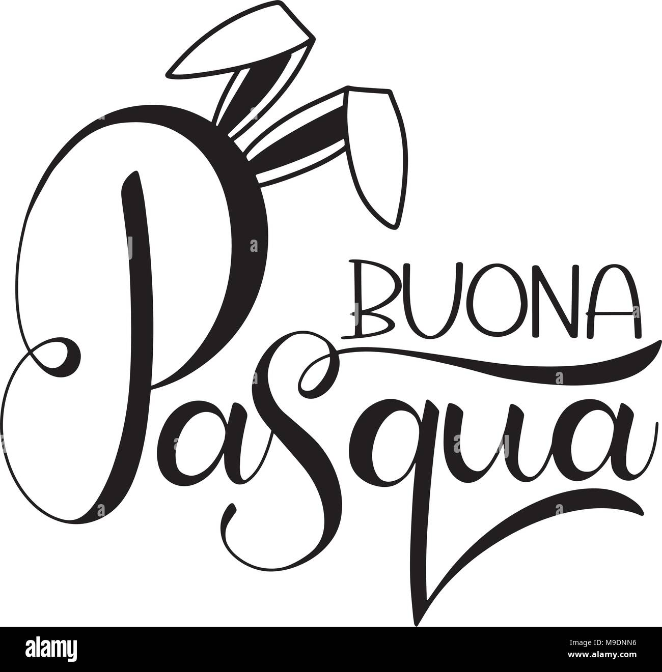 Buona Pasqua Lettering Happy Easter Colorful Lettering In Italian