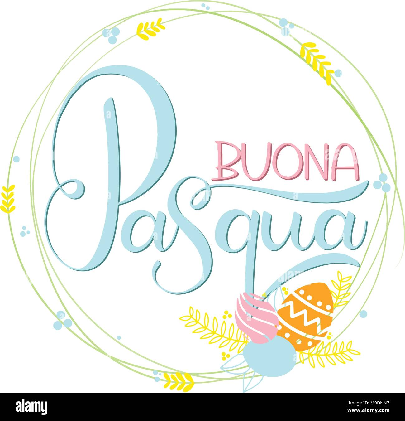 Buona Pasqua Colorful Lettering Happy Easter Colorful Lettering In