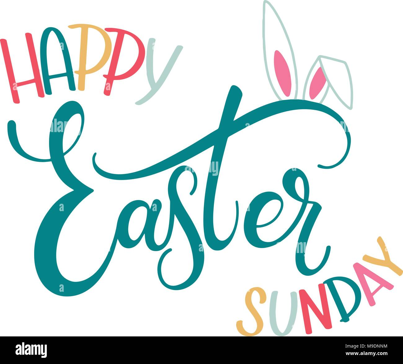 Happy easter sunday colorful lettering hand written easter phrases happy easter sunday colorful lettering hand written easter phrases seasons greetings m4hsunfo
