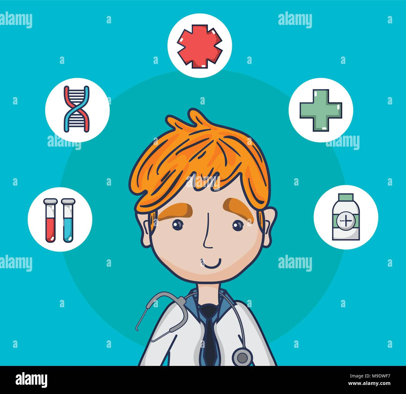 Doctor With Medical Round Symbols Stock Vector Art Illustration