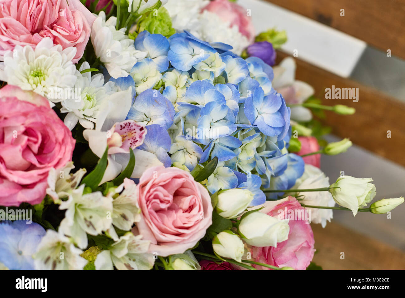 Flower Arrangement Gift In A Box Pink And Blue Color