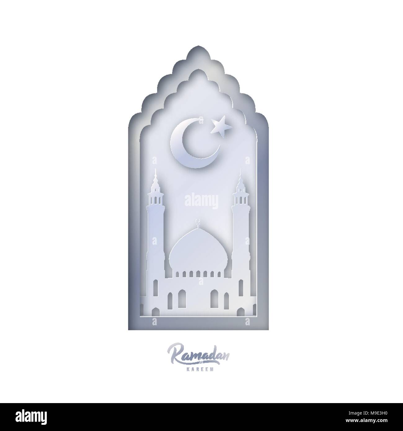 Islamic decorative design template mosque with crescent moon and islamic decorative design template mosque with crescent moon and star on white background in paper cut style ramadan kareem greeting card banner maxwellsz